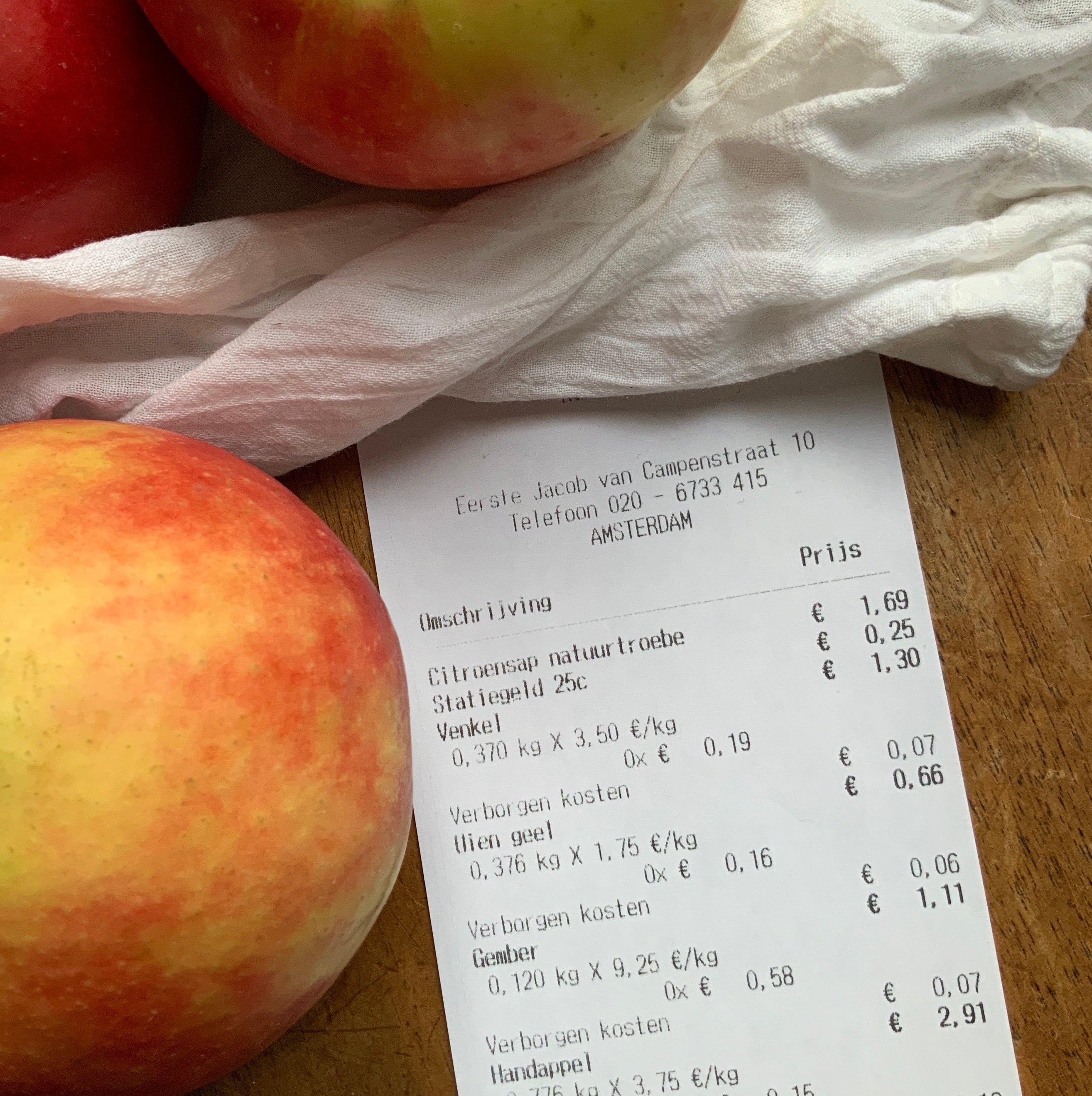 Grocery store receipt listing hidden costs