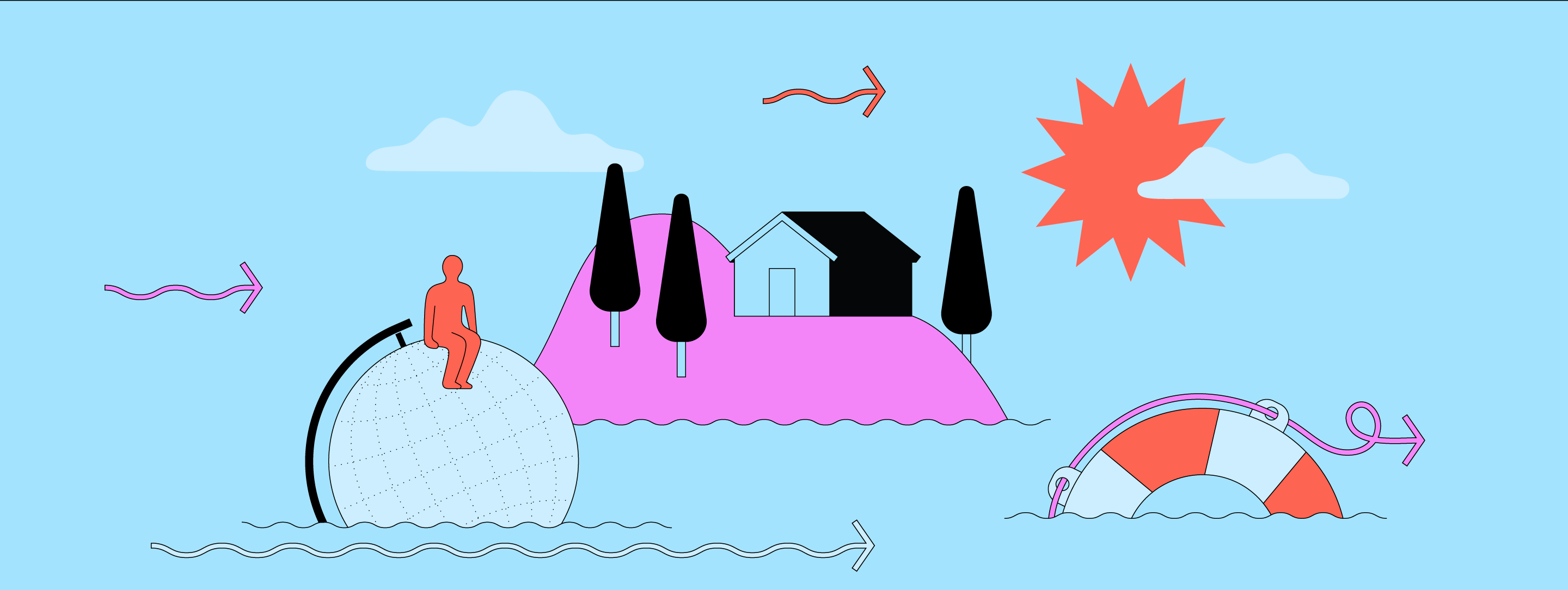 Illustration graphic of the ocean, a lifebuoy, a floating globe with a person sitting on it and an island with a house an three trees on it