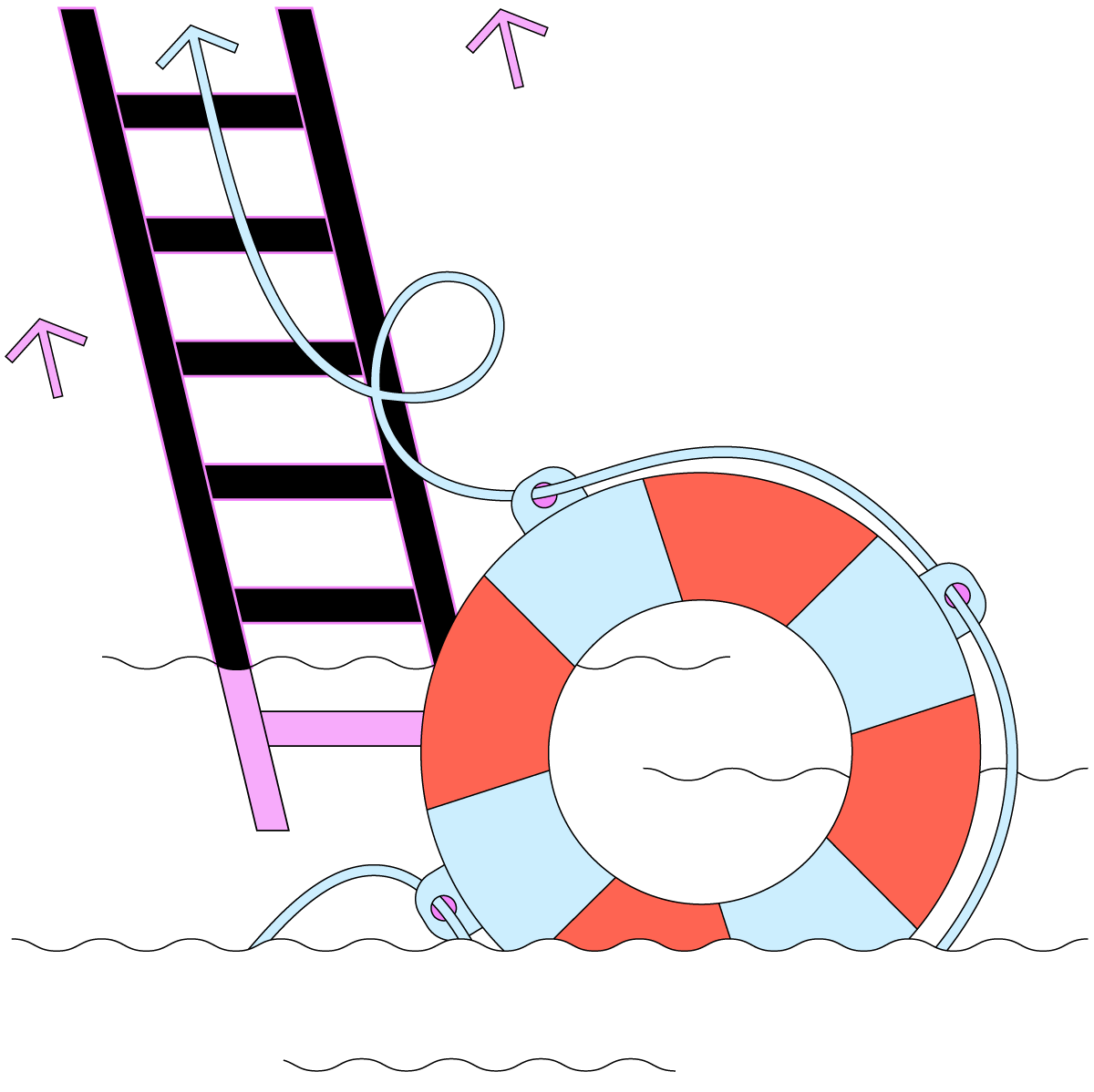 Cartoon graphic of the ocean with a lifebuoy and a ladder