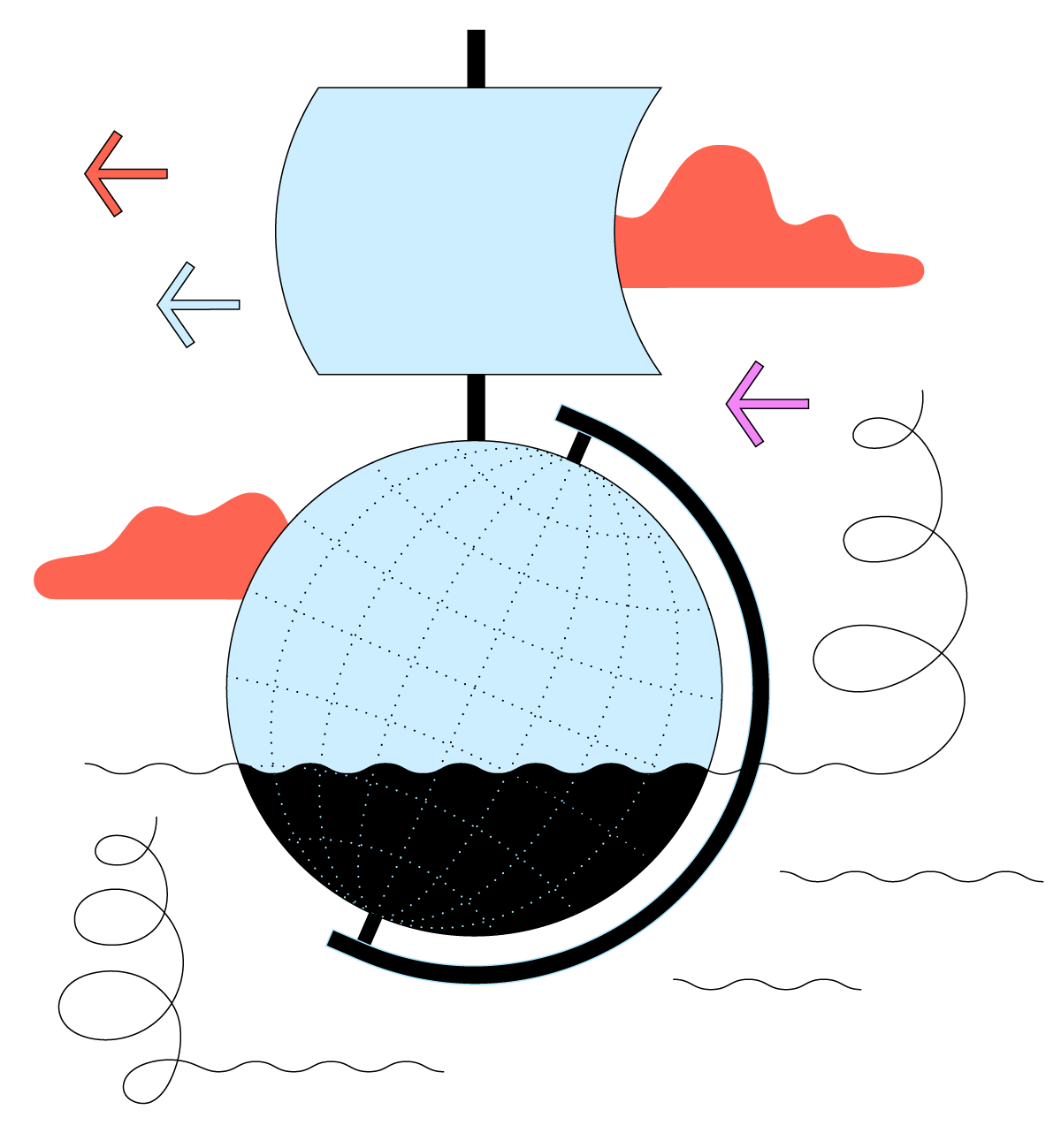 Cartoon graphic of the ocean with a globe in it with a sail attached on top, making the globe look like a sailboat