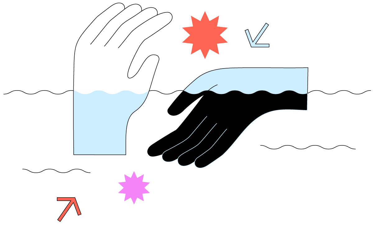Cartoon illustration of the ocean and two hands partially under and above sea level