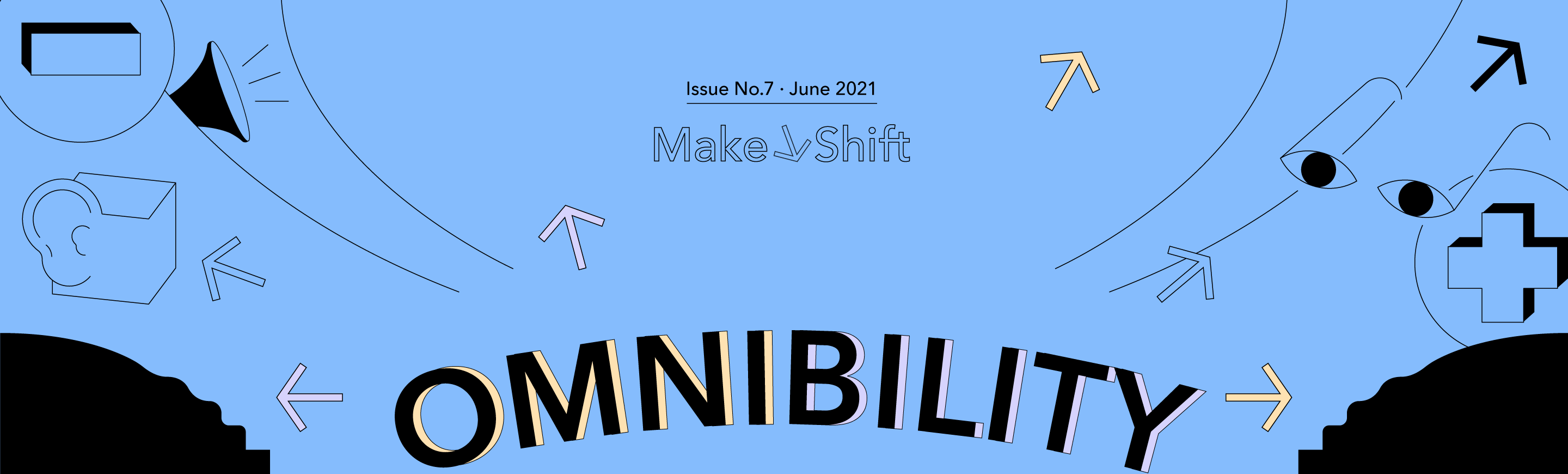 Abstract cartoon that displays an ear, a megaphone, arrows and a plus sign. The center of the image states the trend title: OMNIBILITY.