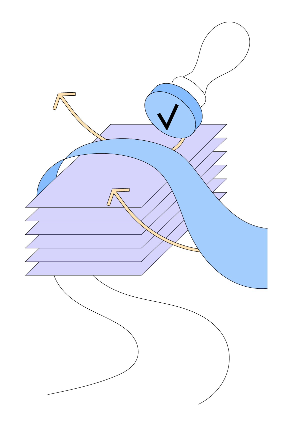 Cartoon graphic depicting documents being approved with a rubber stamp.