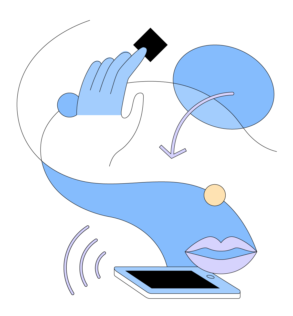 Abstract, cartoon graphic featuring a mobile tablet, lips and a hand.