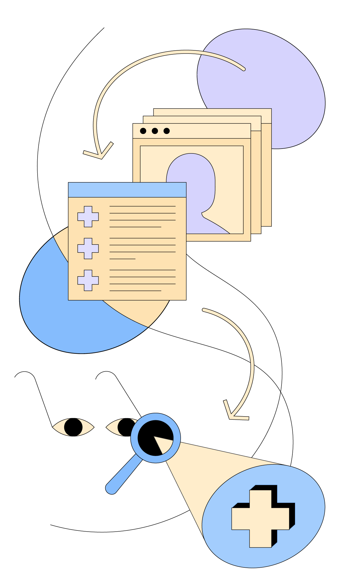 Abstract, cartoon graphic depicting an online database with user profiles, a checklist and a pair of glasses.