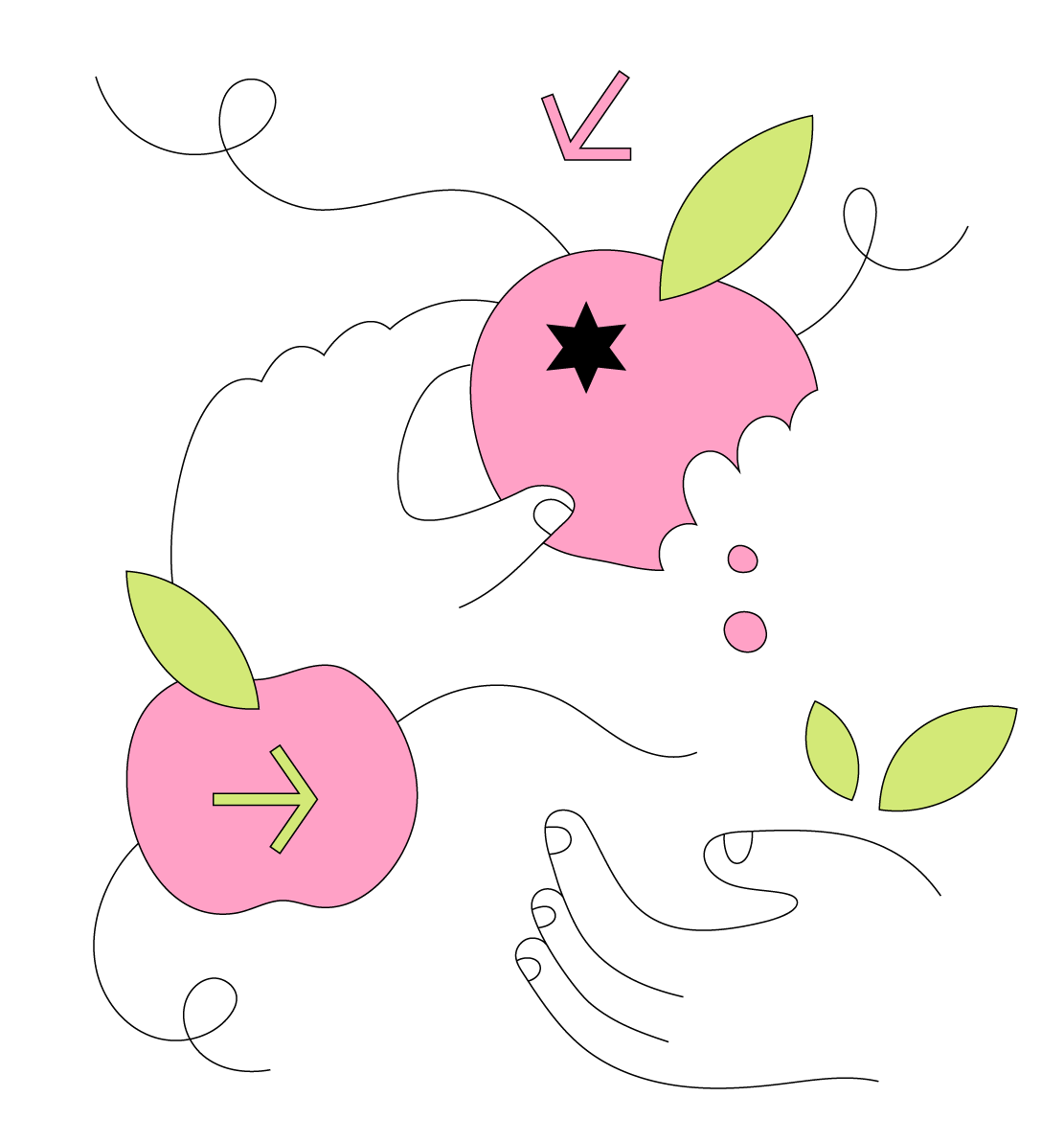 Cartoon graphic of a hand holding an apple, an apple and a hand with leaves on top of it.