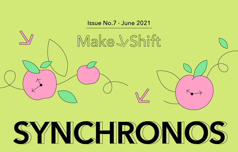 Cartoon graphic of apple-shaped clocks and leaves. It also features the trend title: Synchronos.