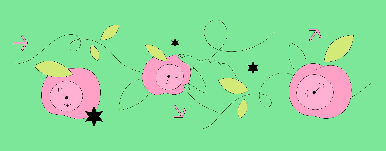 Cartoon graphic of apple-shaped clocks, leaves and stars.