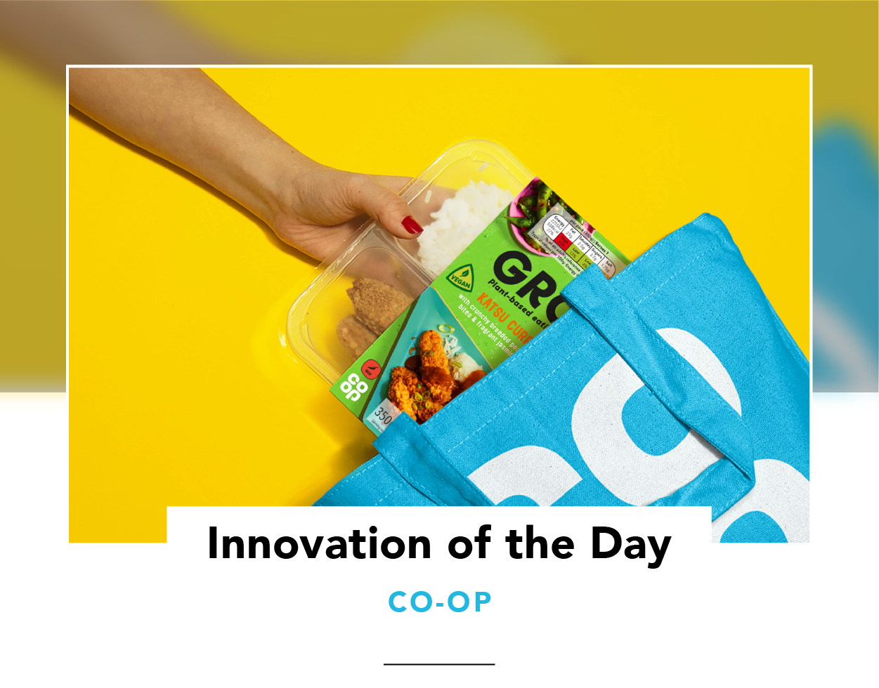A hand pulling a GRO product out of a Co-op grocery bag
