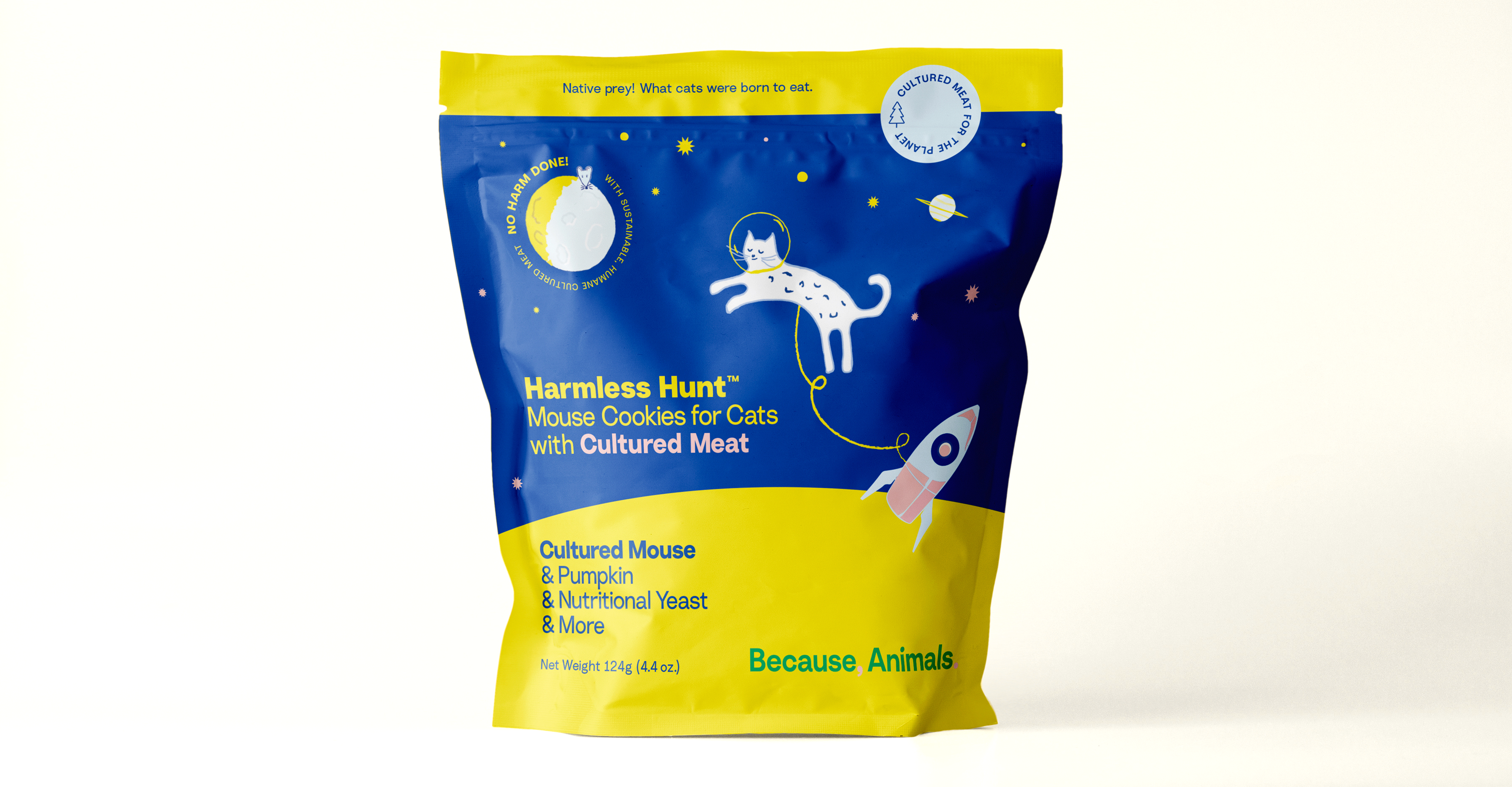 A bag of Harmless Hunt Mouse Cookies for Cats