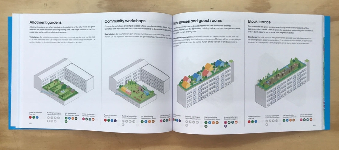 Two-page view of the Rooftop Catalogue, showing 4 different ideas for rooftops