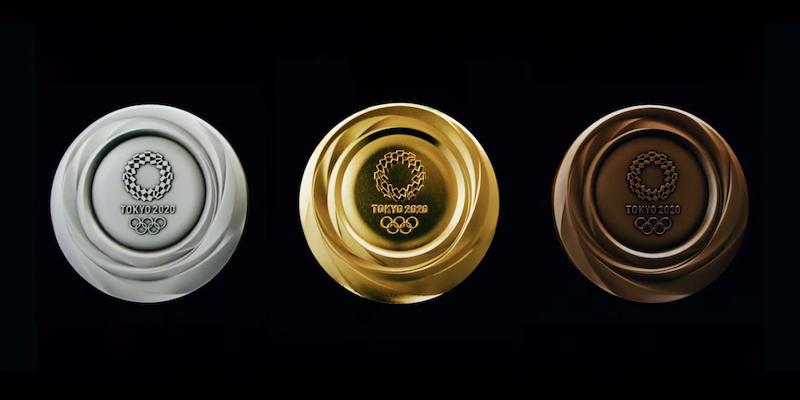 tokyo olympic medals against black background