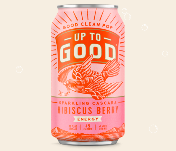 A pink and red can of UP TO GOOD'S hibiscus flavored sparkling cascara
