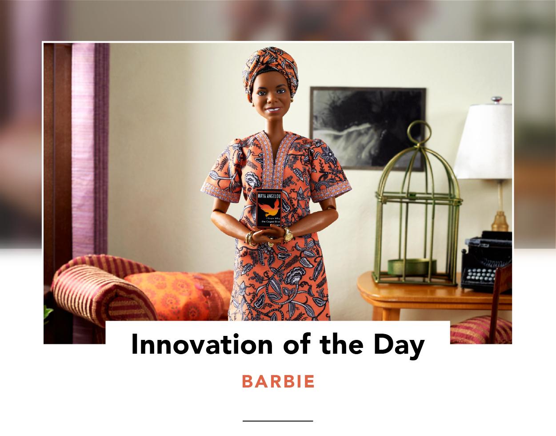 Dr. Maya Angelou Barbie in a staged living room