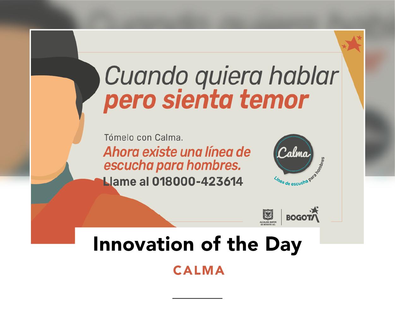 Promotional image for Calma, showing details and the text 'Quando quiera hablar pero sienta temor'