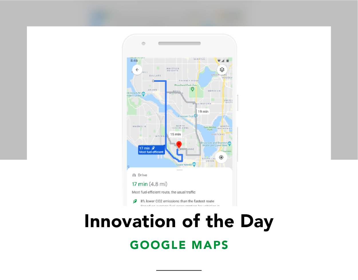 Screenshot of Google Maps on a phone, showing a route with lower CO2 emissions