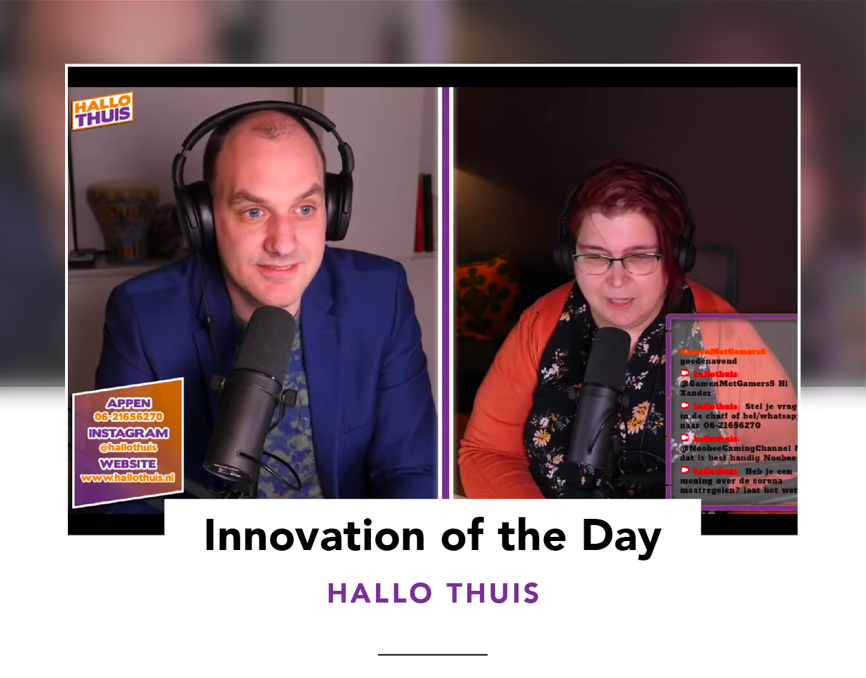 Screenshot of a live chat show presented by two Hello Thuis hosts