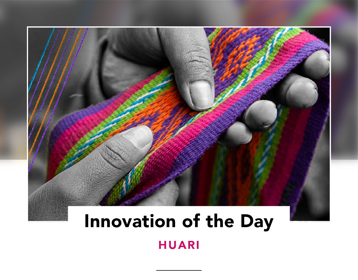 Woman's hands holding a piece of colorful woven fabric