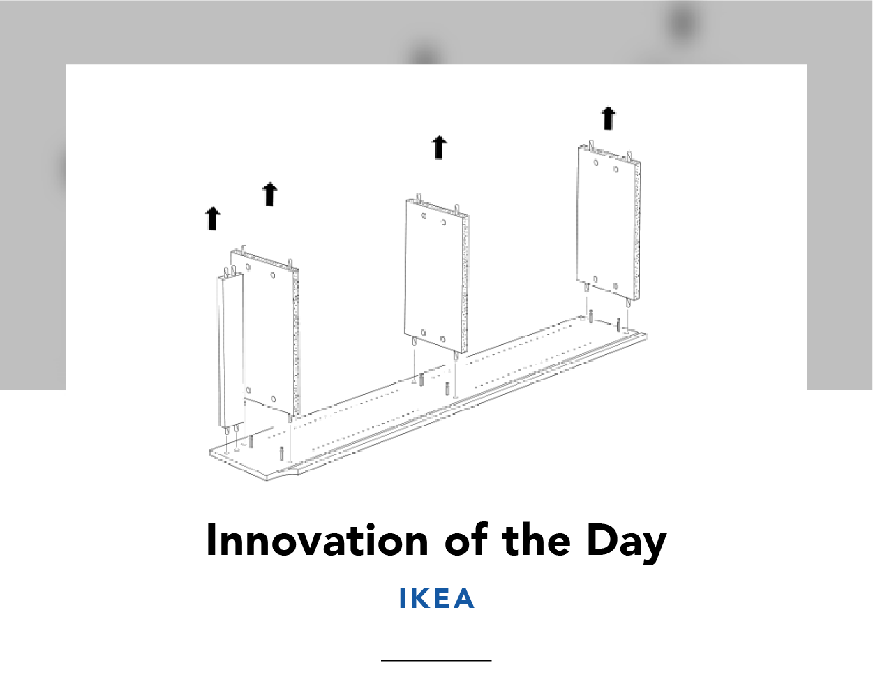 Line drawing showing how to remove shelves from an IKEA bookcase