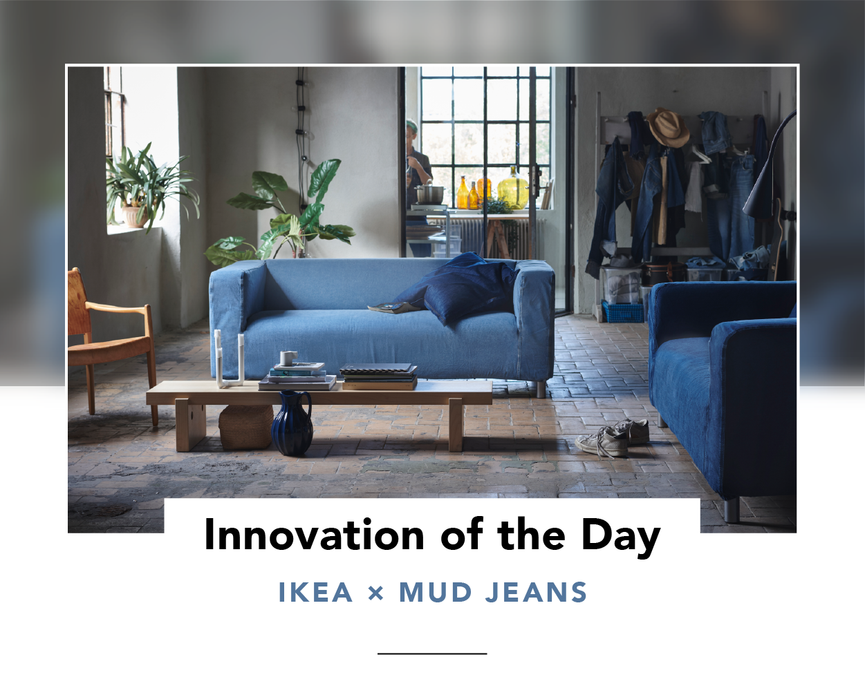 Two denim-covered KLIPPAN sofas in a living room