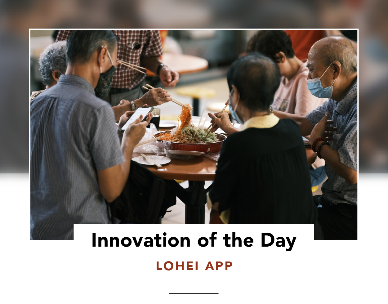 People at a table, tossing food on a communal platter