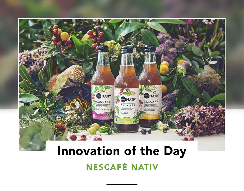 Three bottles of NESCAFÉ NATIV in a lush vegetative setting