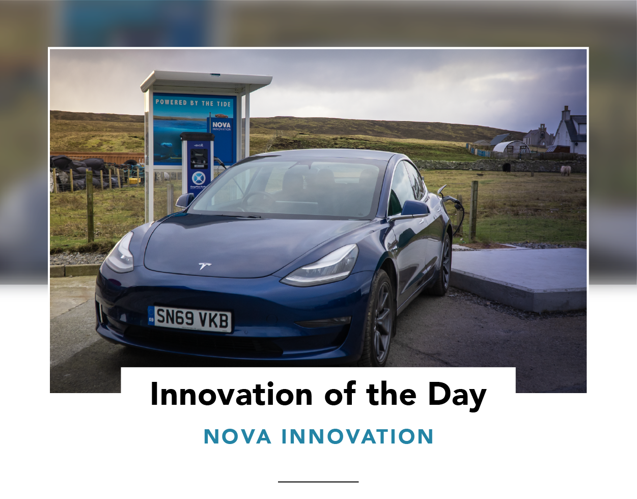 A Tesla parked in front of a tidal-powered EV charging point