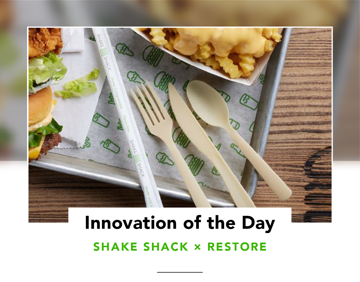Food plus single-use cutlery and a straw, on a Shake Shack tray