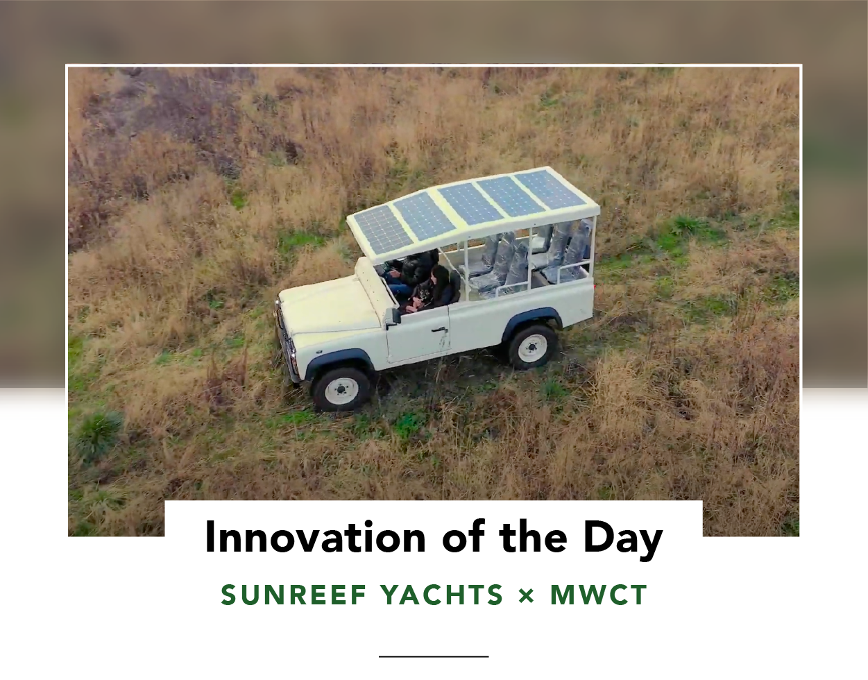 Electric safari vehicle by Sunreef Yachts, viewed from above and showing solar panels on roof