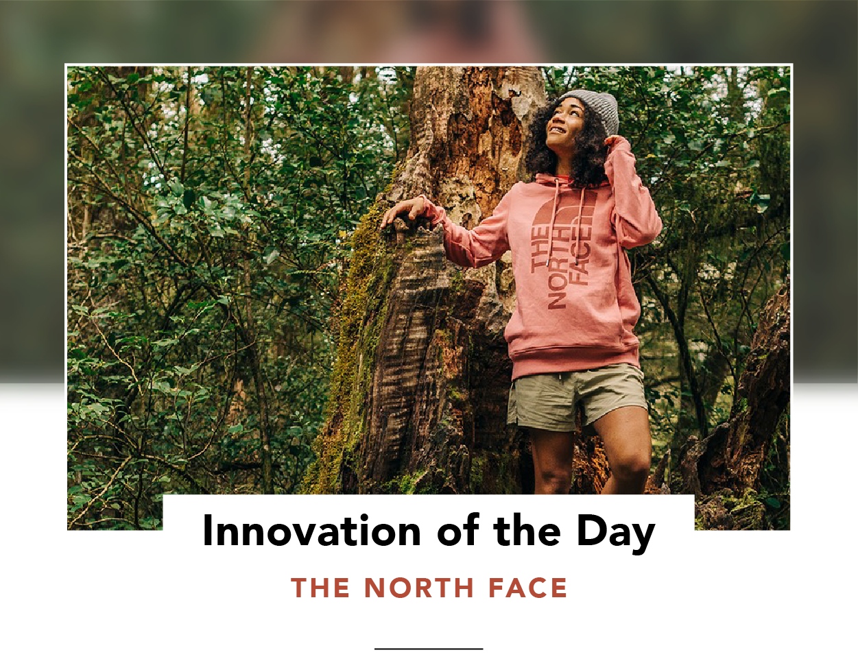 Woman in a forest, wearing a sweater by The North Face