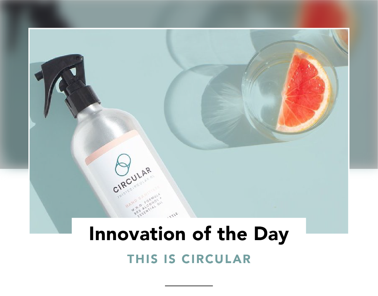 Cleaning product in a circular bottle (and a glass of water)
